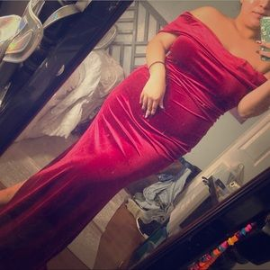 Red velvet formal gown
